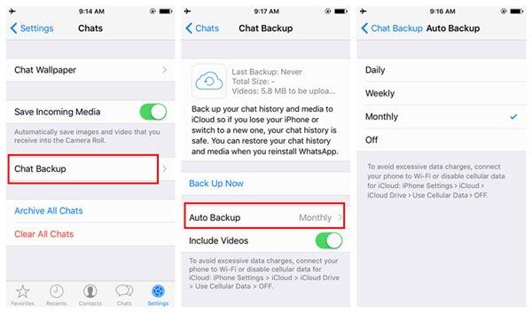 backup whatsapp on iphone