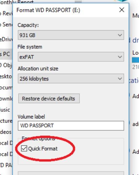 formatting-on-windows