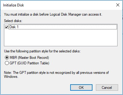 hard disk not initialized fix