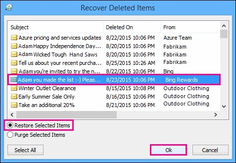 recover deleted email from server