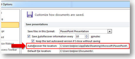 check the loaction to microsoft powerpoint document recovery