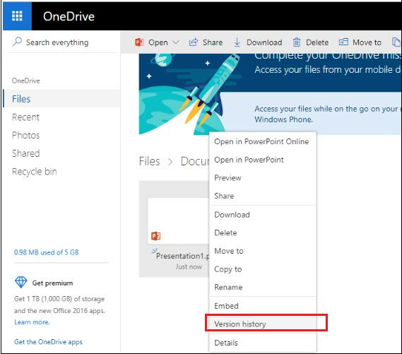 restore-from-onedrive