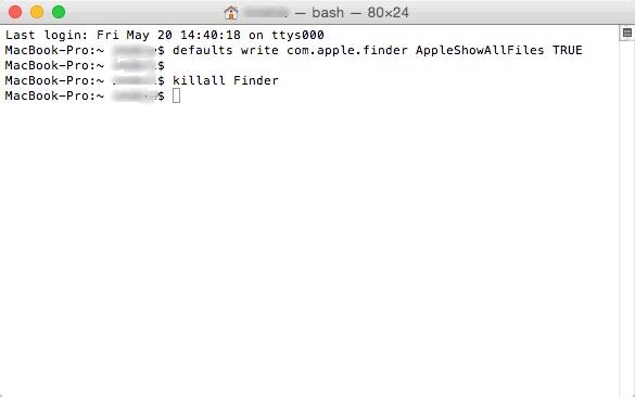 show hidden files mac terminal