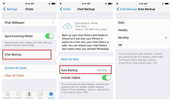 how to backup whatsapp videos on iphone