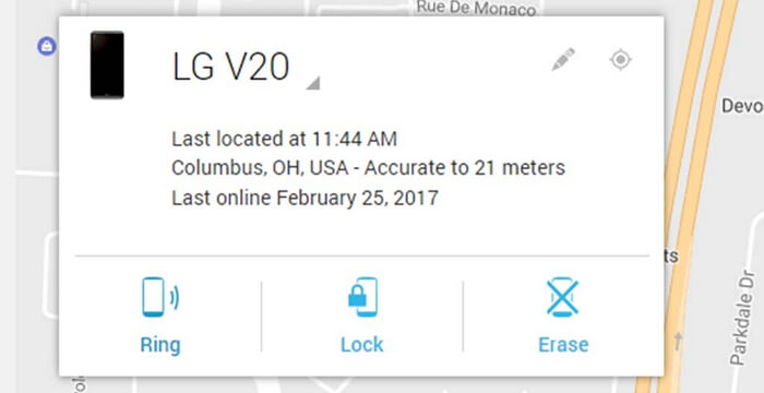 bypass lg lock screen with find my device