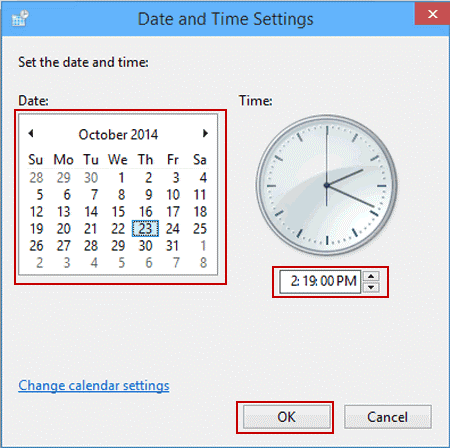 change the date and time values