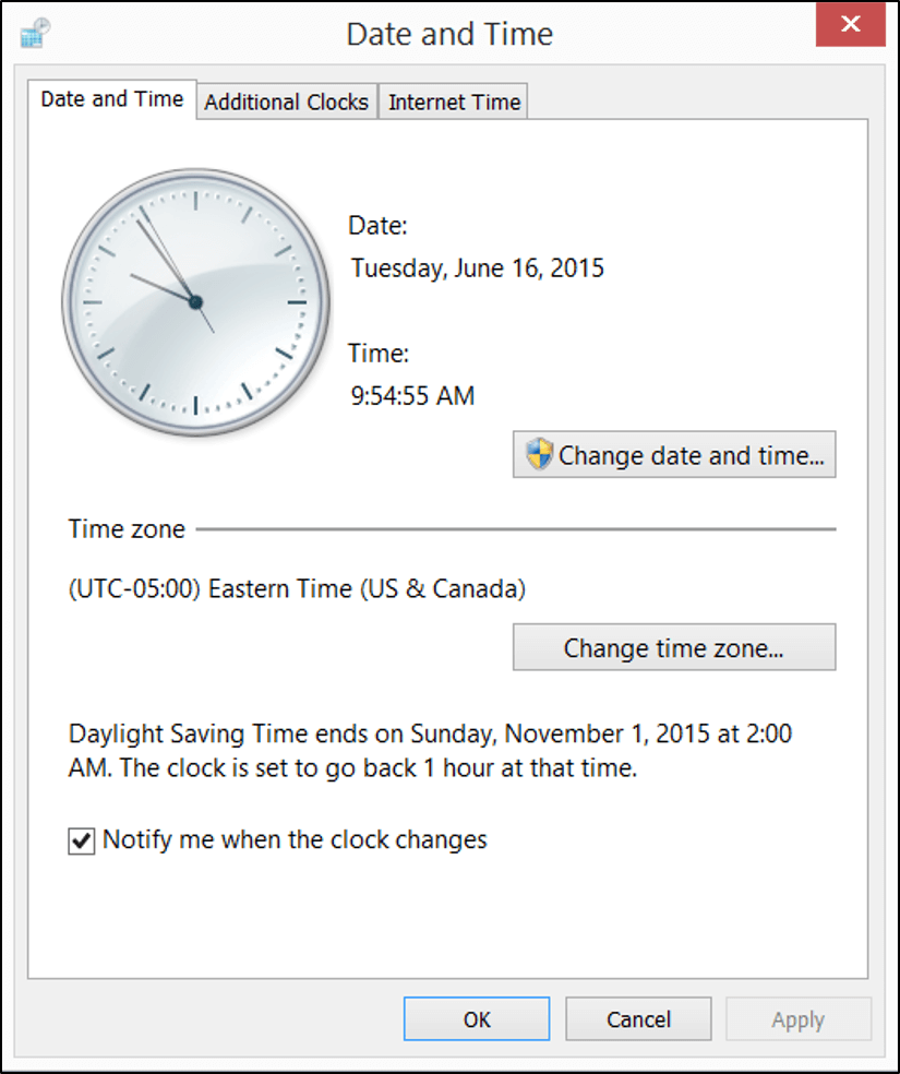 Check Date Time Settings on Windows