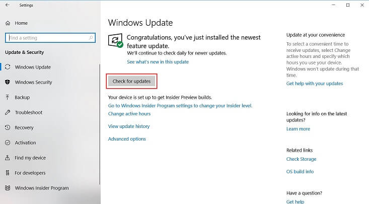 check system update on windows