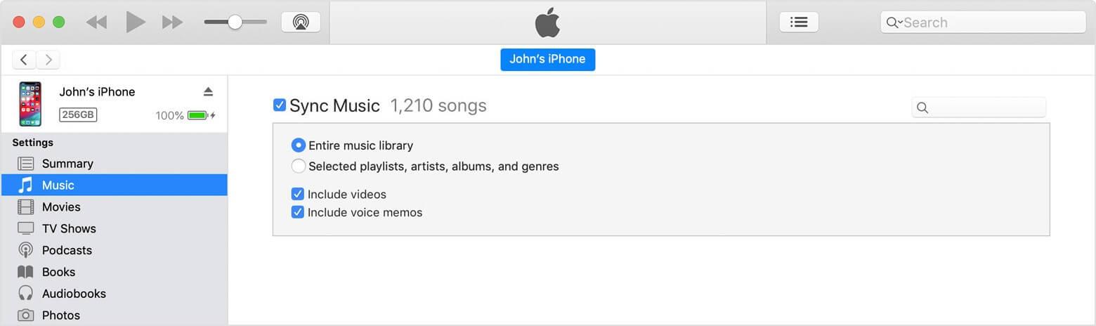 click on Music tab