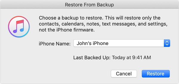 click on the Restore button