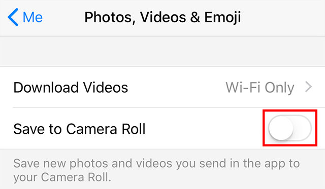 Click the Save to Camera Roll