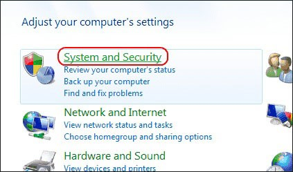 Select the System, and Security link