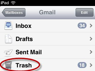 delete trash folder on ipad email