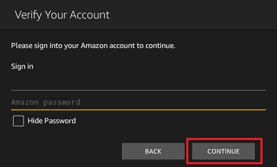 enter the amazon username and password
