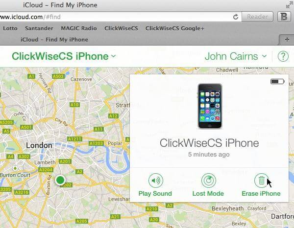 erase locked iphone using find my iphone