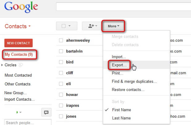 copy google contacts