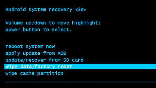 select Factory Reset option
