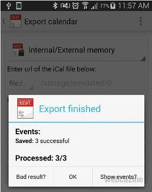 iCal export samsung calendar