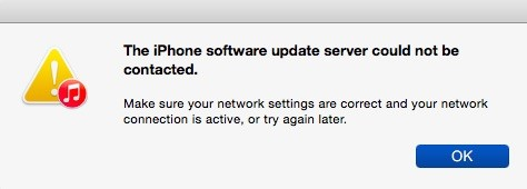 The iPhone software update server could not be contacted