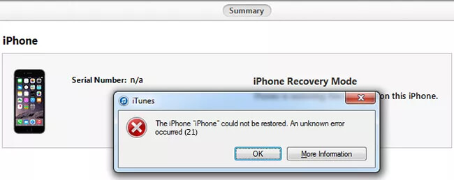 The Safest Way to Fix iTunes Error 21 during Firmware