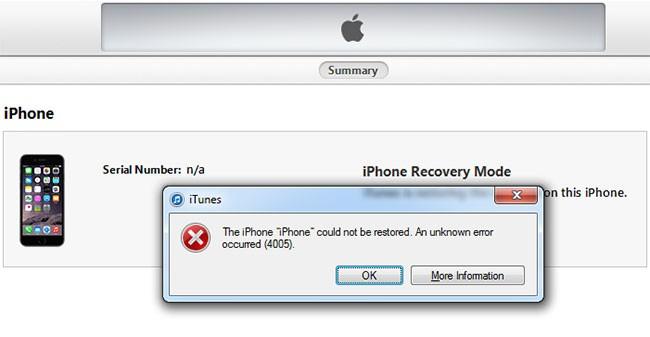 iTunes error 4005