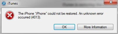iTunes error 4013
