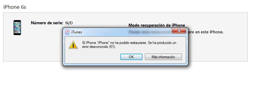 iTunes error 51