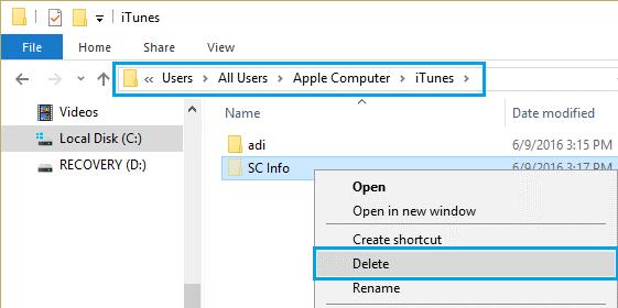 Remove the SC Info Folder