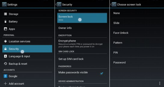 reset android password from settings