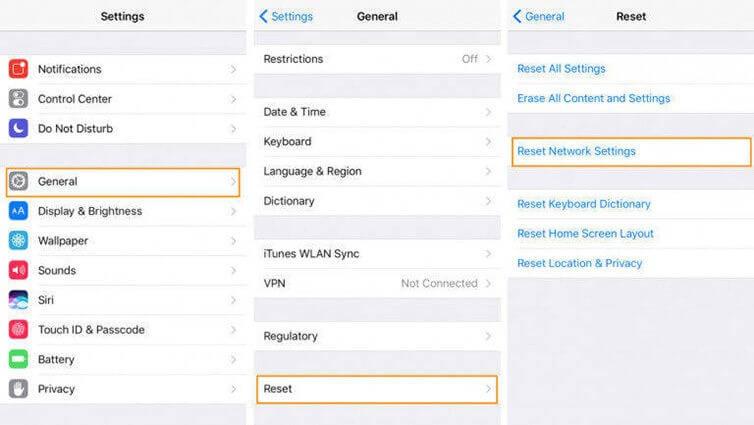 reset iphone network