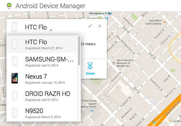 reset locked android phone with android device manager