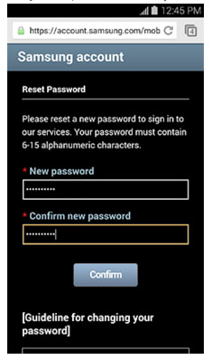 reset samsung account password - step 4
