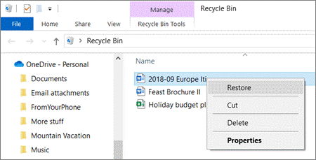 recover onedrive files deleted from recycle bin