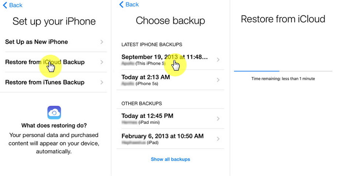 restore the content of the iCloud backup