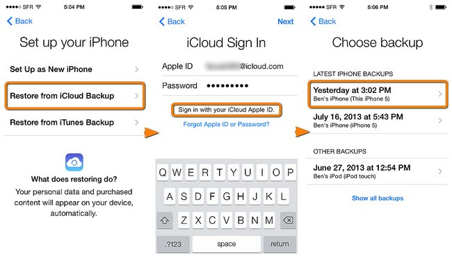 restore contacts from icloud to new iphone