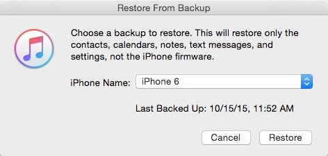 restore contacts from itunes backup to iphone