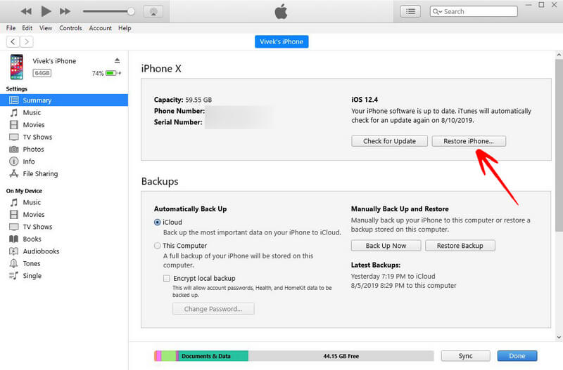 restore iphone on itunes