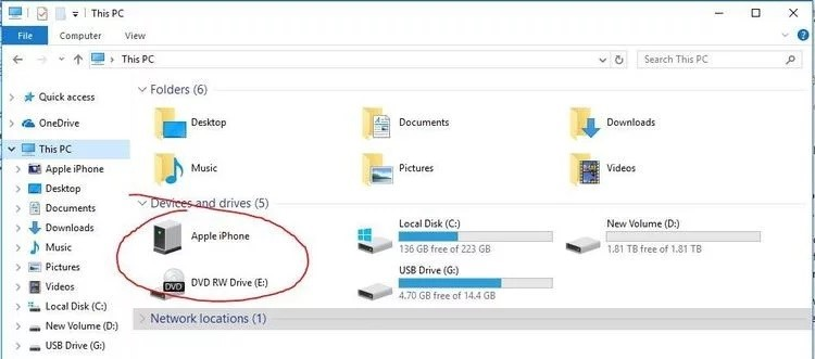 transfer photos from iphone to windows