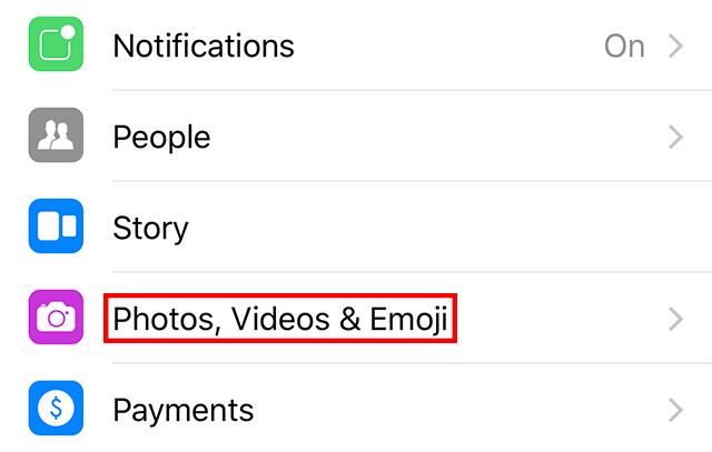 select the Photos, Videos Emoji option