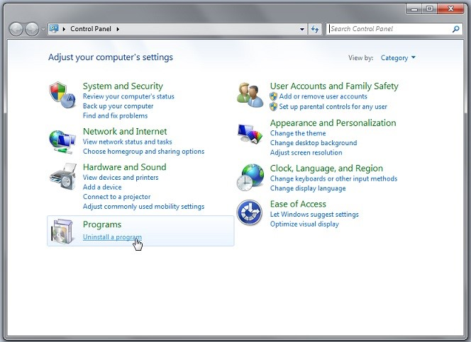 select Uninstall a Program