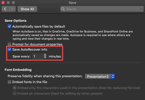 unsaved powerpoint recovery mac