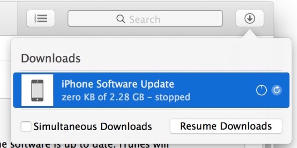 downloads the iOS software update