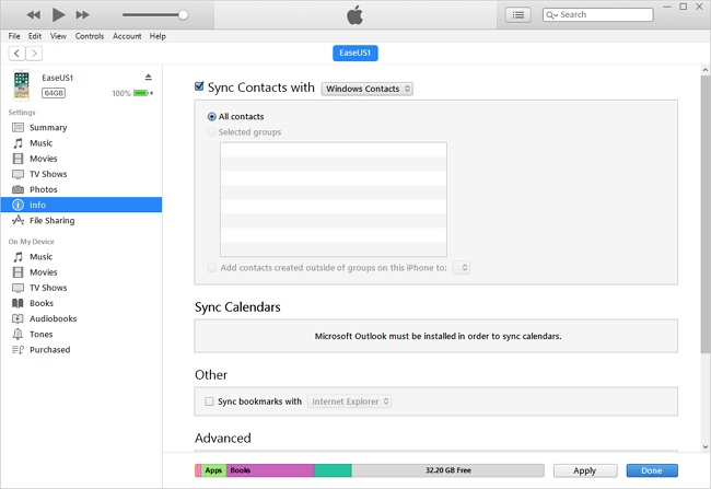sync google contact via itunes