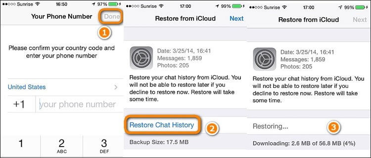 get old whatsapp messages on new phone by iCloud