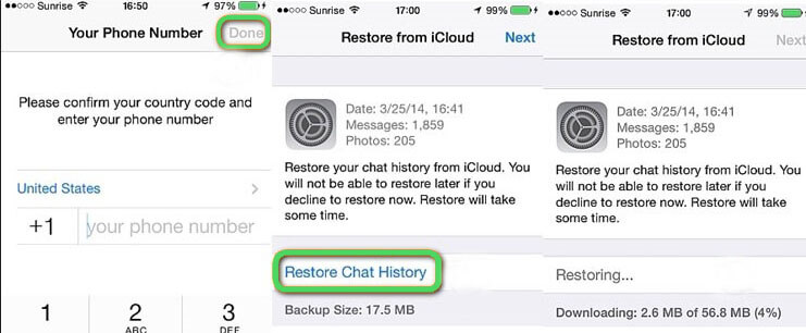 restore whatsapp contacts icloud