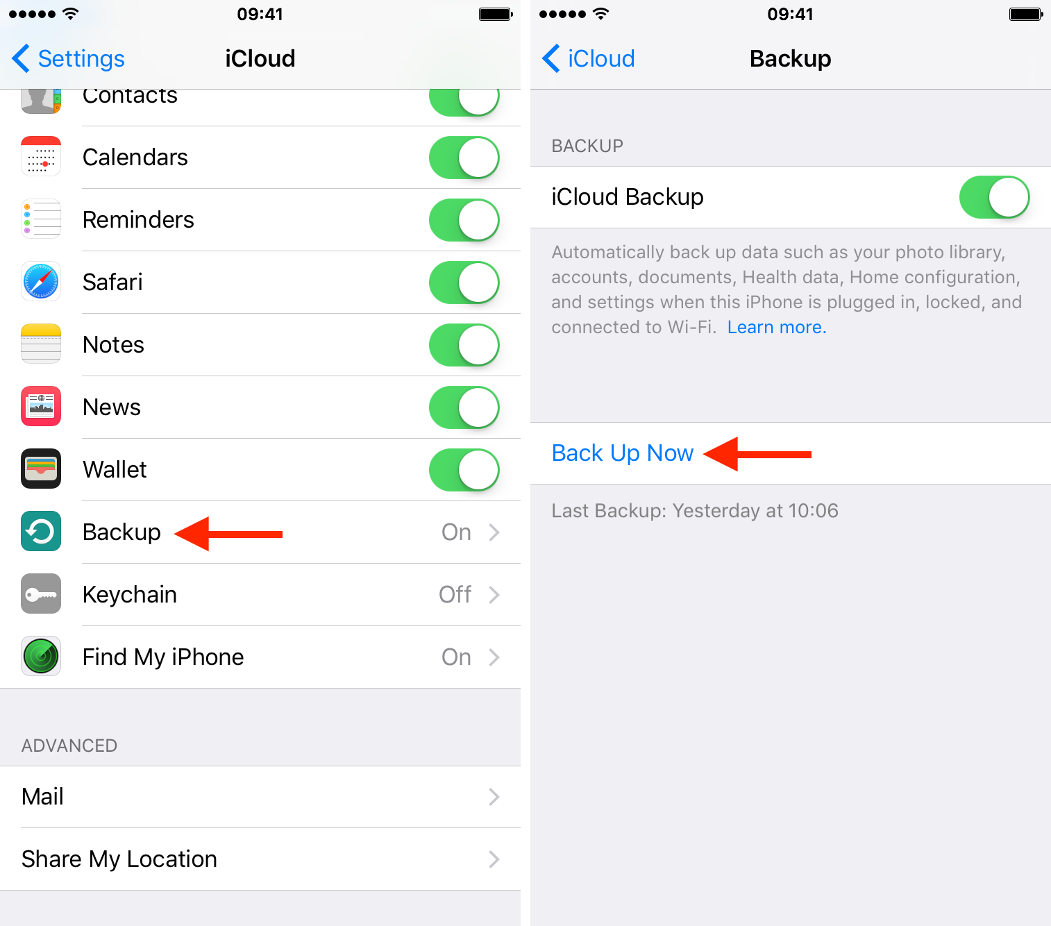 turn on the iCloud backup option