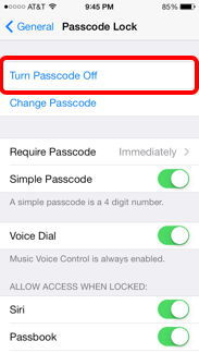 turn passcode off on iphone