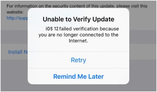 unable to verify update