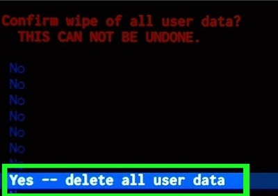 delete all user data