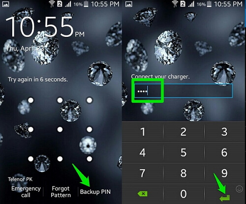 unlock android pattern with backup pin